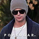 Zac Efron wore a beanie and sunglasses.  Source: 4CRNS/Gallo/FameFlynet