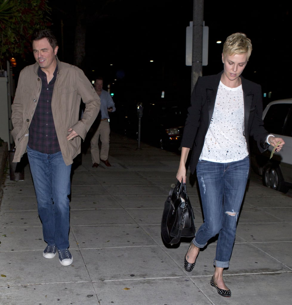 pictures of charlize theron and seth macfarlane at dinner