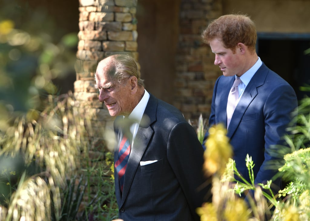 Once again Prince Philip was on hand for a personal tour of Harry's Sentebale garden at the 2015 RHS Chelsea Flower Show.