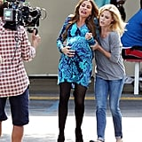 Sofia Vergara and Julie Bowen filmed a labor scene for Modern Family in LA.