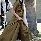 Meghan Markle Wearing a Green Maxi Dress