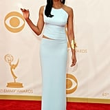 Padma Lakshmi on the red carpet at the 2013 Emmy Awards.