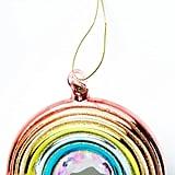 Anthropologie Glittery Rainbow Glass Ornament
