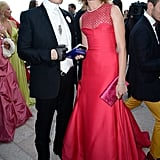 Karl Lagerfeld joined the woman of the hour, Natalia Vodianova, who kept to her tradition of wearing red to the Love Ball in a scarlet Dior Haute Couture gown.