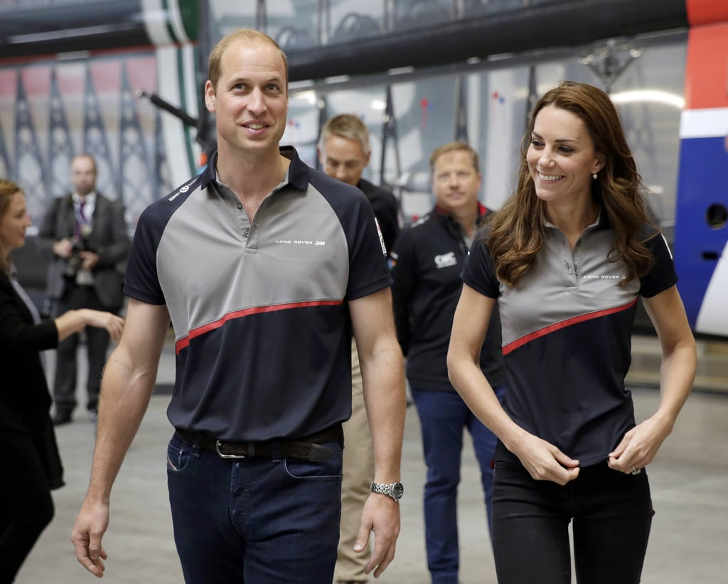 "Kate Middleton and Prince William were all smiles when they attended the America's World Cup Series in England. Clad in black skinny jeans and a polo tee, the duchess toured the Ben Ainslie Racing headquarters before boarding a catamaran around Portsmouth with William. During their visit, competition winner 10-year-old Zak Kay asked William about Prince George's recent birthday gifts, to which the proud dad jokingly responded, ""He got too many things. He's far too spoilt. He's not into boats yet."" Friday marked George's third birthday, and to celebrate the special occasion, the Duke and Duchess of Cambridge released four new photos of the tiny tot, who started to look a bit more grown up. In one of the images, George is shown smiling big for the camera while playing around on a swing engraved with the names of his parents. See more of William and Kate now, then check out the royal family's best pictures from their Summer."