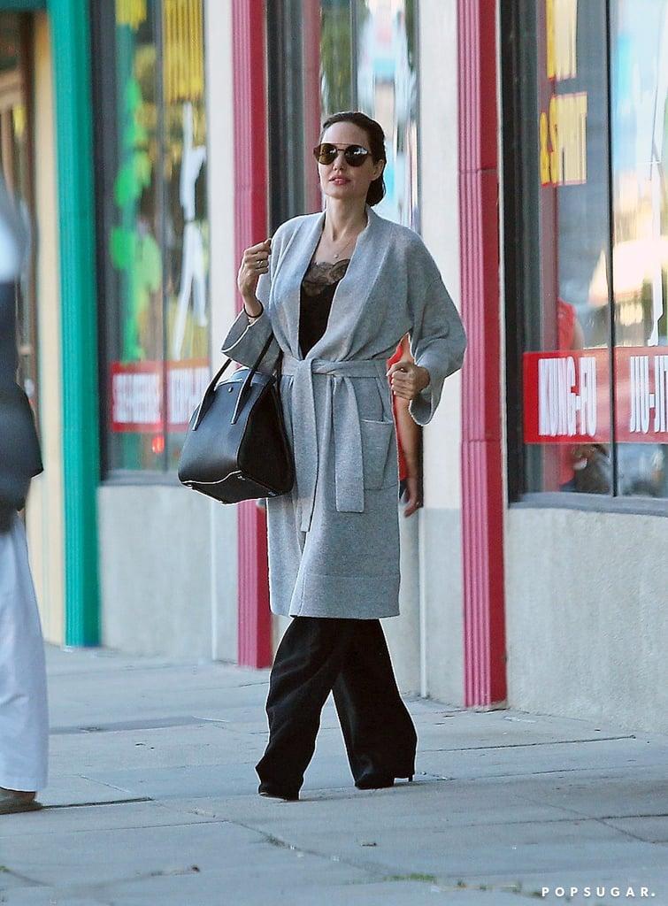 Angelina Jolie Wearing Gray Robe