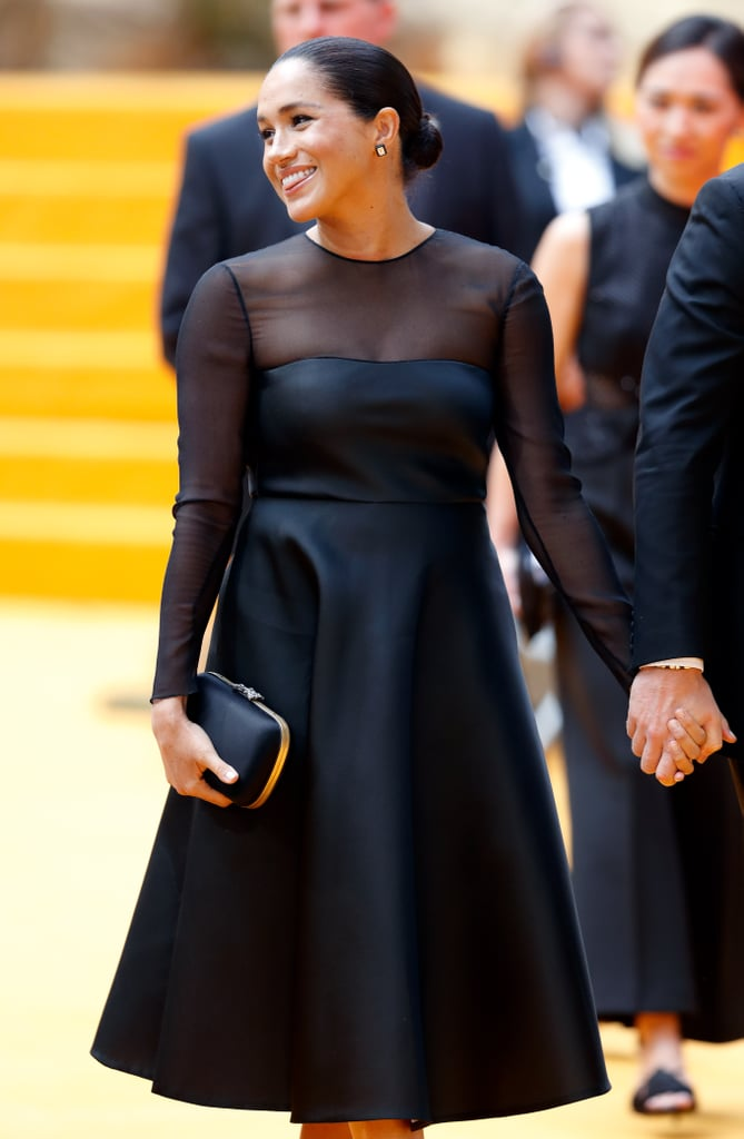 For Meghan's first movie premiere as a royal, the former actress stunned in a long-sleeved LBD by Jason Wu with a sheer neckline and sleeves.