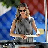 Emily VanCamp grabbed food between takes on the LA set of Revenge on Tuesday.
