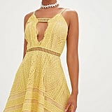 Yellow Crochet Lace Plunge Strappy Skater Dress