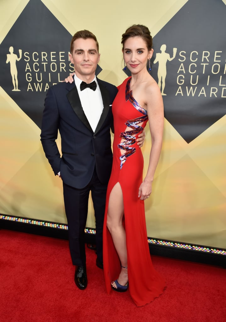 "Dave Franco and Alison Brie turned heads at the 2018 SAG Awards. The couple, who tied the knot last March, walked the red carpet before the award ceremony where Alison is nominated for her performance in GLOW. In the wake of James Franco's sexual misconduct allegations, Alison was asked about the controversy and defended her brother-in-law, saying, ""I obviously support my family, and not everything that's been reported has been accurate, so I think we're waiting to get all the information."" James is also nominated and expected to show up at the ceremony after skipping the Critics' Choice Awards last week, so all eyes will be watching to see what happens. Keep reading for more photos from Dave and Alison's night out ahead."