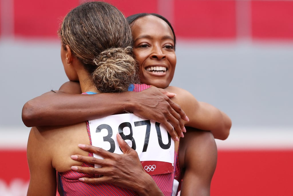 Sydney McLaughlin and Dalilah Muhammad Hug After the 400m Hurdles Race at the 2021 Olympics
