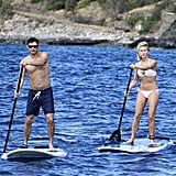 Bikini-clad Julianne and Ryan Seacrest showed off their paddleboard skills in St. Barts together in December 2012.
