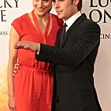 Zac Efron leaned in for a hug with his lovely costar, Taylor Schilling.