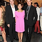 Lisa Perry added color to the mix when posing in a hot-pink number with David Maupin and Stefano Tonchi at the Parrish Art Museum.