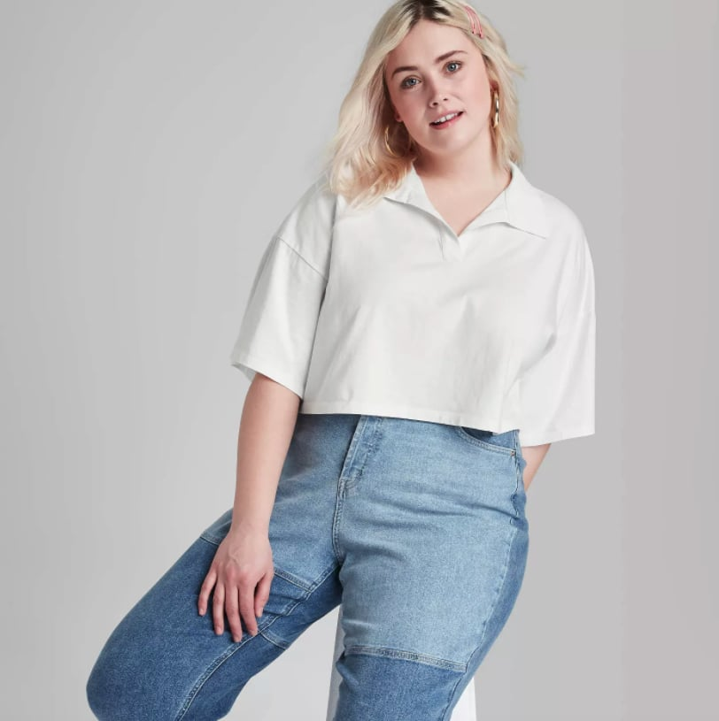 Classic With a Twist: Wild Fable Short Sleeve Boxy Cropped Polo T-Shirt