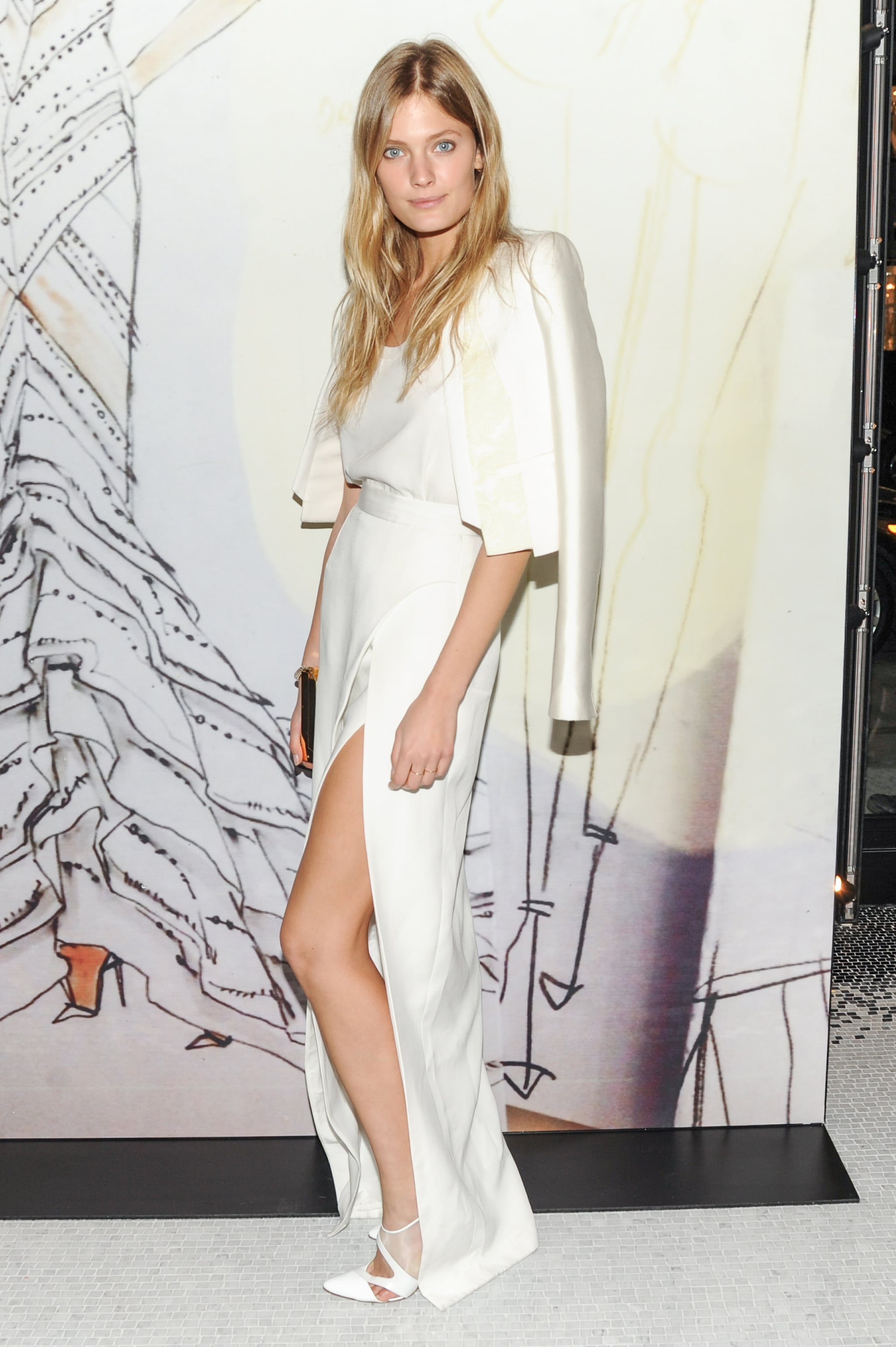 Constance Jablonski at the opening of the Madison Avenue J. Mendel boutique.