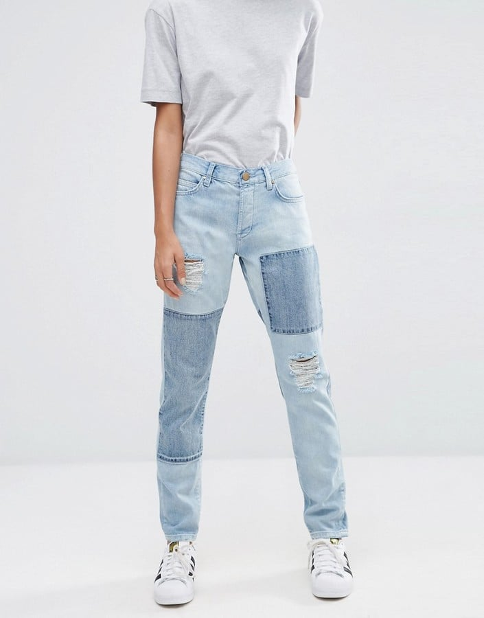Asos 'Brady' Low Rise Patchwork Boyfriend Jeans ($57)