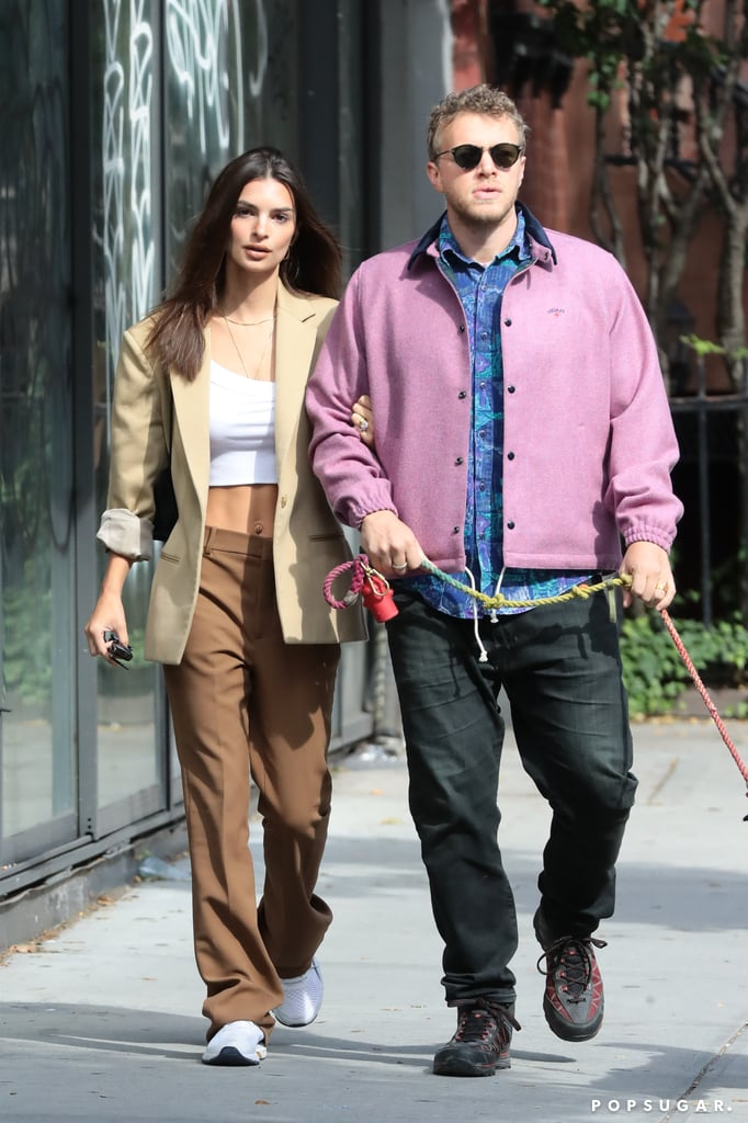 Emily Ratajkowski and Sebastian Bear-McClard With Colombo in NYC