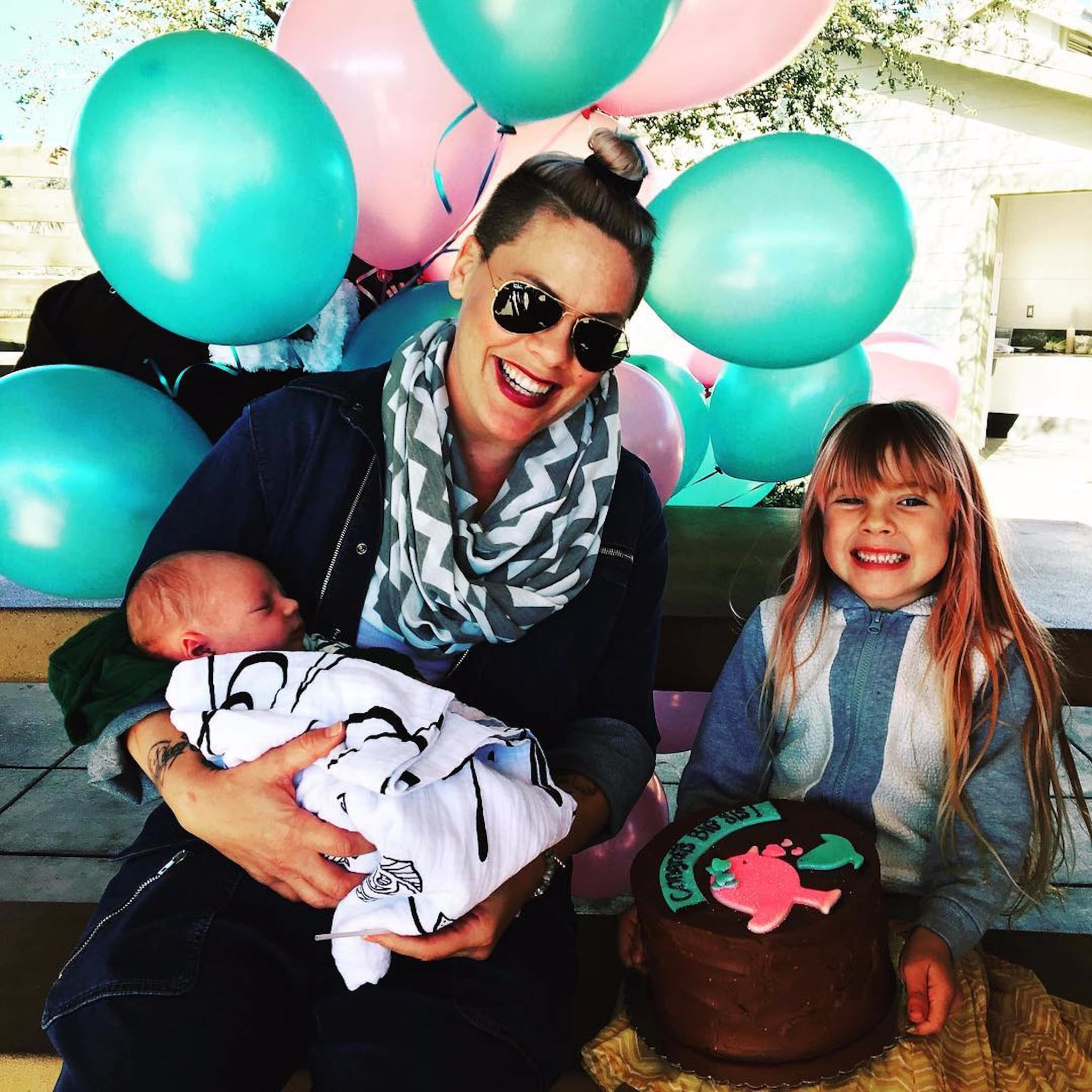 pink with her kids