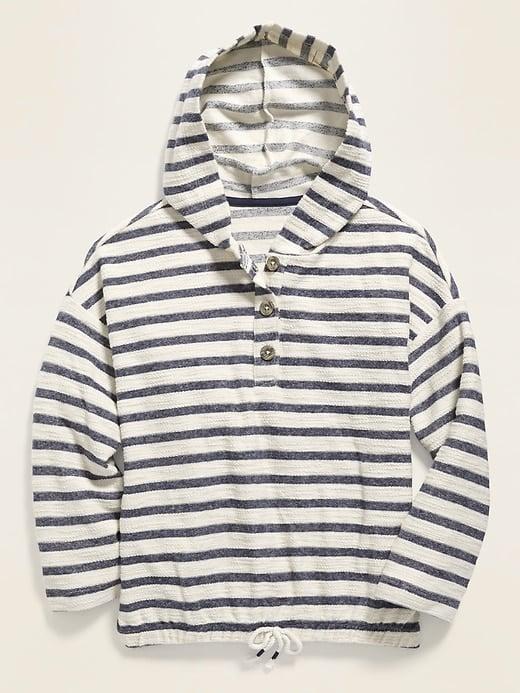 Striped Cinched-Hem Baja Hoodie