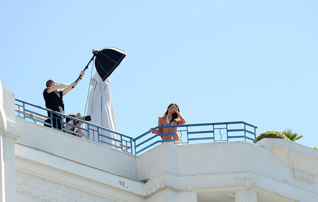 Eva Longoria posed on the rooftop of a hotel in Cannes for a photo shoot.