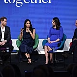 William respectfully listened as Meghan spoke during the Royal Foundation Forum in London in February.