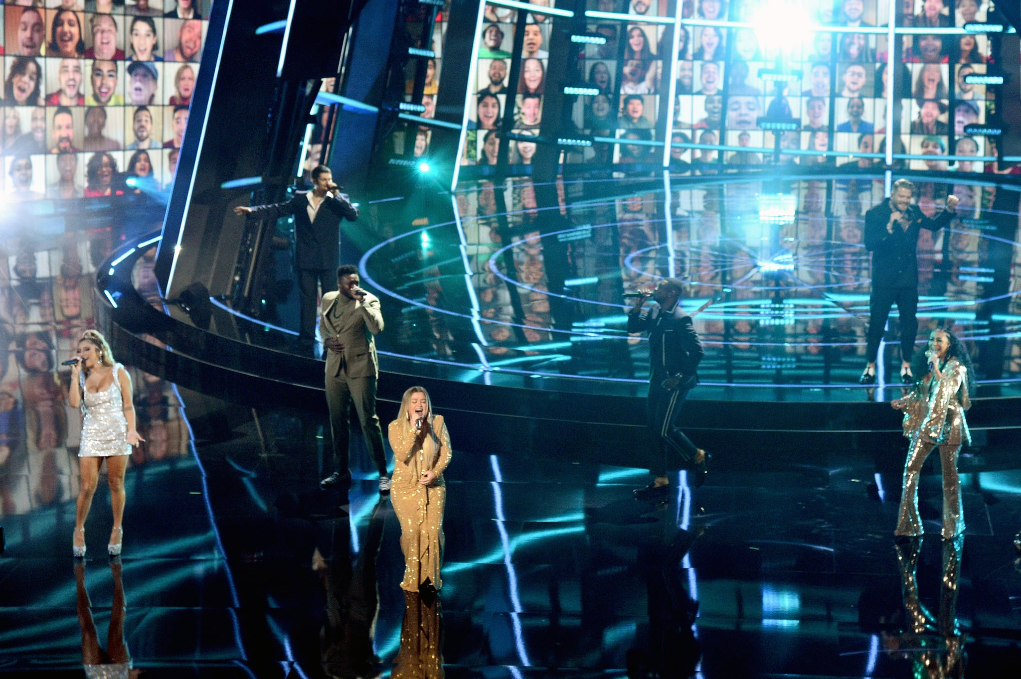 HOLLYWOOD, CALIFORNIA - OCTOBER 14: In this image released on October 14, Kirstin Maldonado, Mitch Grassi, and Kevin Olusola of Pentatonix, Kelly Clarkson, Matt Sallee and Scott Hoying of Pentatonix, and Sheila E. perform onstage at the 2020 Billboard Music Awards, broadcast on October 14, 2020 at the Dolby Theatre in Los Angeles, CA.  (Photo by Kevin Mazur/BBMA2020/Getty Images for dcp)