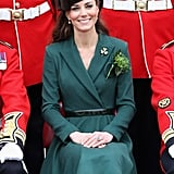 Kate Middleton sat pretty at a St. Patrick's Day event with Irish Guards in Aldershot, England, in March 2012.