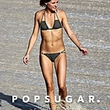 Olivia Palermo flaunted her fit body on the beach in St. Barts in January.
