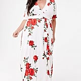 Plus-Size Floral Belted Maxi