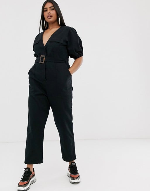 ASOS Design Curve Denim Belted Jumpsuit With Banana Leg