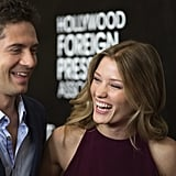 Topher Grace and Ashley Hinshaw on Red Carpet August 2015