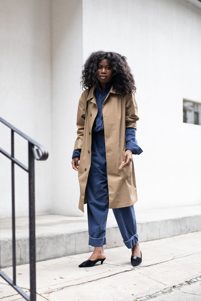 On chilly days, top head-to-toe denim with a classic trench coat and finish with mules.