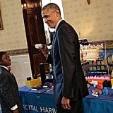 President Obama held a replica of the White House made with a 3D printer by 9-year-old Jacob Leggette from Baltimore, MD. When the boy wanted to enter the Digital Harbor Foundation's MiniMakers challenge but didn't have a 3D printer, he wrote letters to different companies and asked them if they would give him a printer in exchange for feedback on how easily a kid could use the machine. They agreed and he makes his own toys with them now.