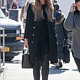 Chrissy Teigen had NYC street style down pat by choosing all black.