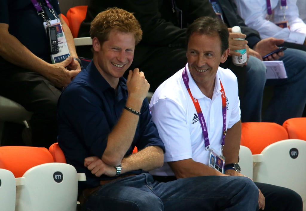Prince Harry had a laugh while watching diving at the Olympics.