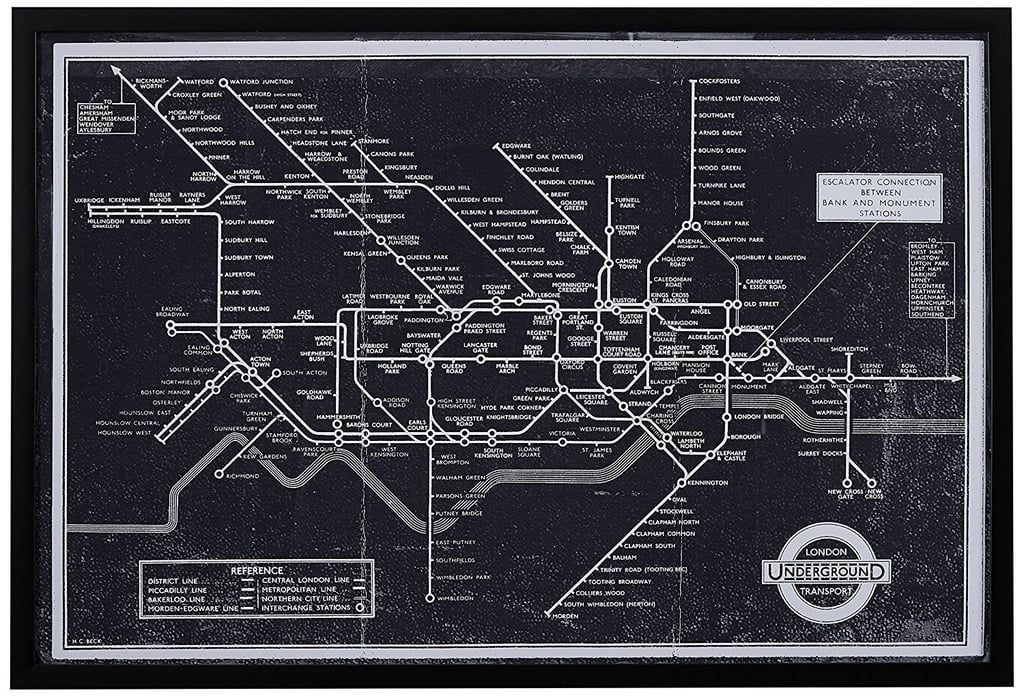 Black and white blueprint of london underground in black frame 119 black and white blueprint of london underground in black frame 119 malvernweather Choice Image