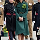 We Were Green With Envy Over Her Gorgeous Green Emilia Wickstead Dress Coat That She Donned For St. Patrick's Day