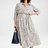 1.State Snake Print Long Sleeve Shirtdress