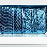TM Enjoy Watersnake Clutch in Turquoise Photo courtesy of Tamara Mellon