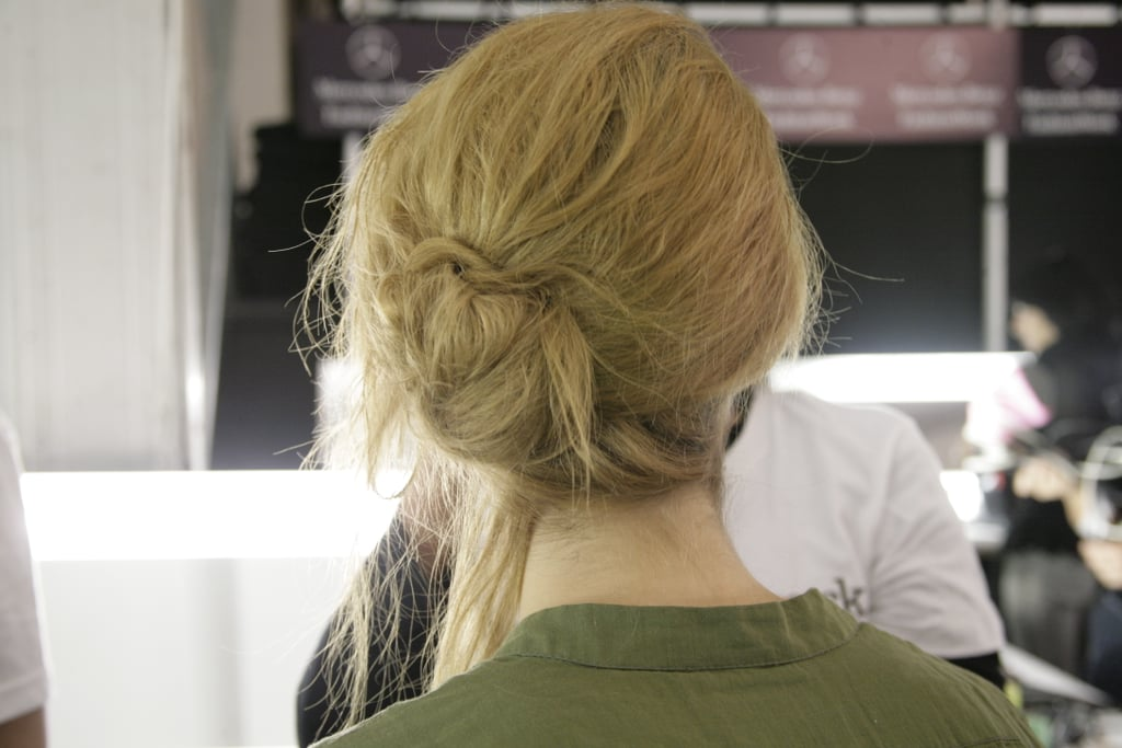 Once pinned, hair was topped off with light spritzes of the brand's Body Finishing Spray. Photo: Megan Holmes