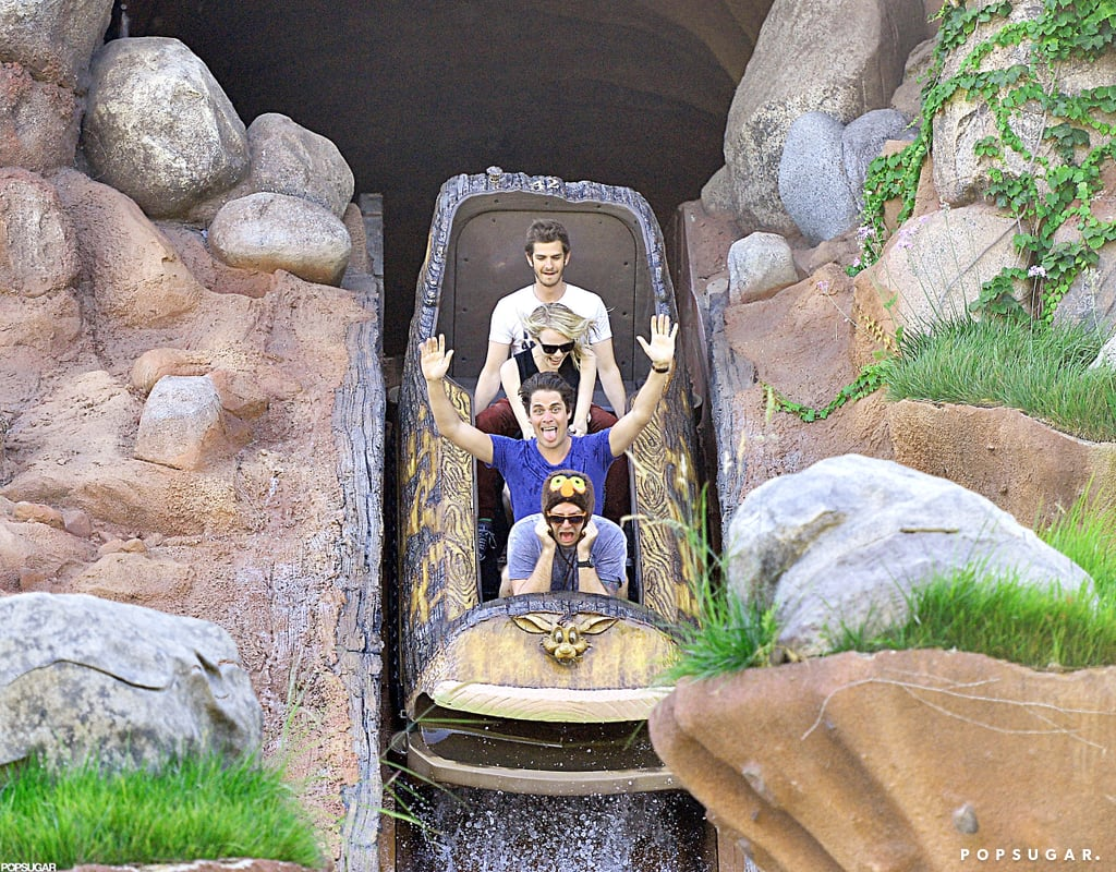 Emma Stone and Andrew Garfield had fun on one of the rides at Disneyland.