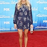 Carrie Underwood showed off her tan, toned gams in a blue Badgley Mischka mini back in May.