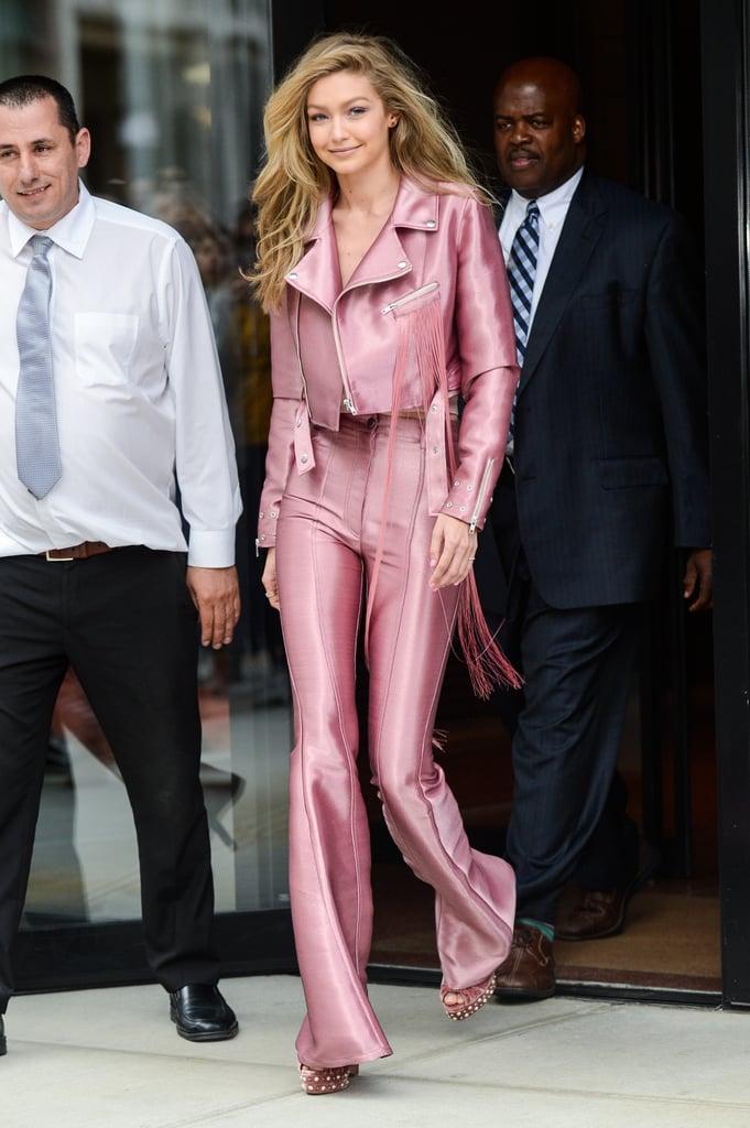 Gigi Hadid Pink Suit June 2017