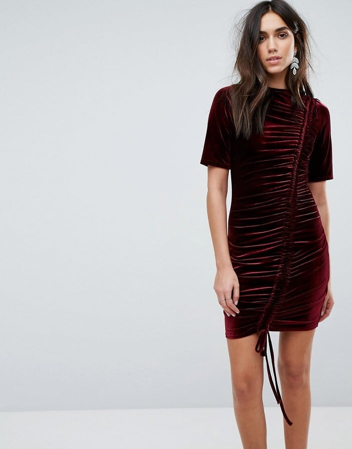 PrettyLittleThing Ruched Detail Velvet Dress