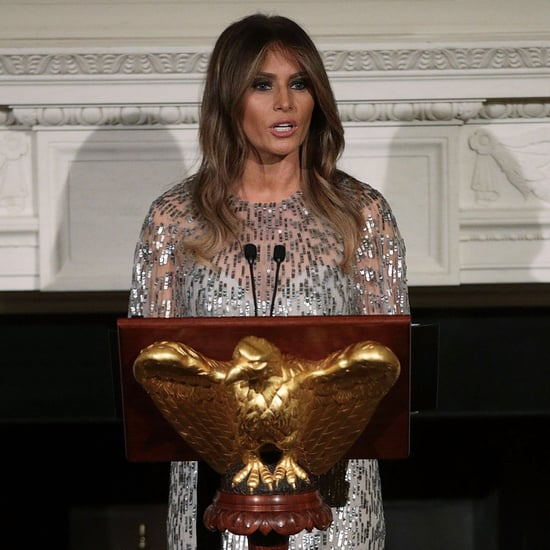 Melania Trump Wearing Silver Monique Lhuillier Dress