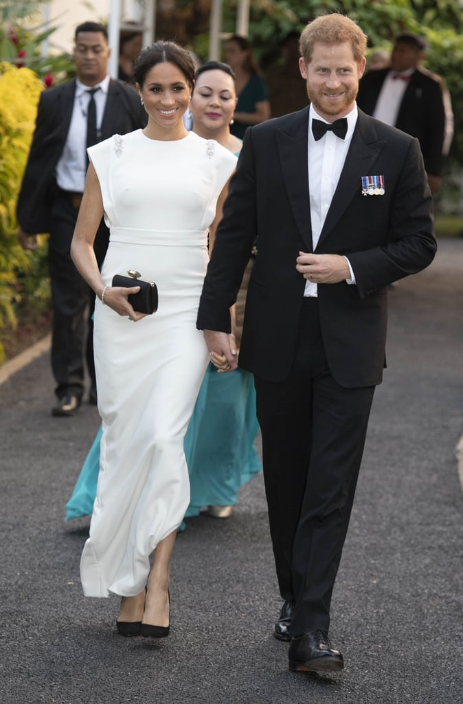 Meghan Wearing Her White Theia Gown at a State Dinner in Tonga
