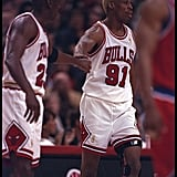 Michael Jordan and Dennis Rodman  During the NBA First Round Play-Offs in 1997