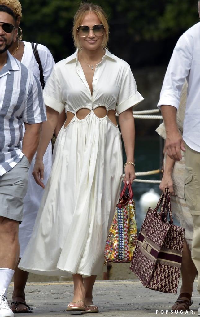 Jennifer Lopez Wears Cult Gaia Cut-Out Dress on Holiday