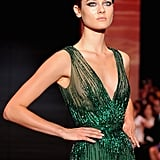 Elie Saab brought the drama with his green goddess gown.